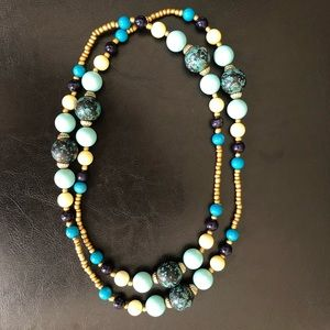 New York & Company Jewelry - Ny&Co Blue Beaded Vintage Pearl Statement Necklace
